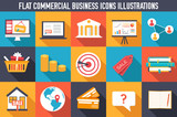 set flat business commerce icons design vector illustration conc