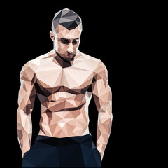 Polygonal muscular man over black background