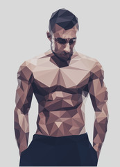 Polygonal muscular man over gray background