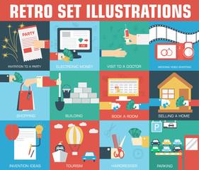 set of flat communication concepts illustrations