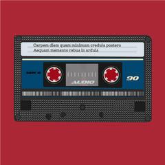 Retro audio cassette. Vintage color. Vector tape