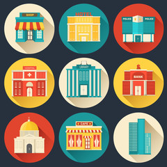 Flat colorful vector sity buildings set icon