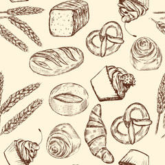 Hand drawn seamless bakery pattern