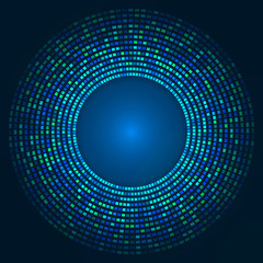 blue abstract background - circles of glowing pixels, concentric