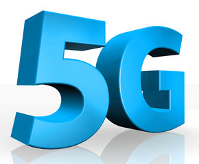 3D 5G text on white background