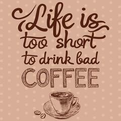 Cytat i szkic styl kawa filiżanki