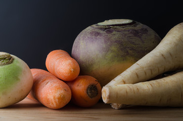 Root Vegetables Arranged on Table