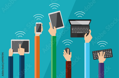Illustration of hands holding hi tech devices - 81998794