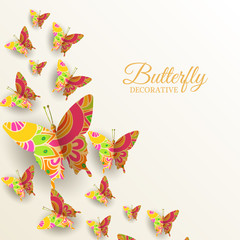 beautiful colorful butterfly background concept.