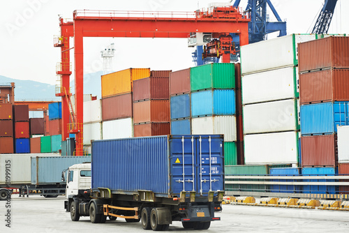 Poster Poort Cargo dock terminal with sea containers