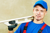 Plasterer with work tool