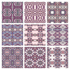set of pink different seamless colored vintage geometric pattern