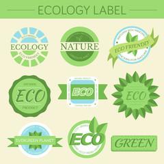 green eco nature label print set illustration design