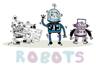 vector set of three robots on a white background
