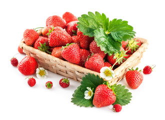 Basket fresh strawberry with green leaf and flower. Isolated