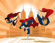 Superhero Team; Team of superheroes, flying and running in front - 81999959