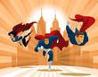 Superhero Team; Team of superheroes, flying and running in front