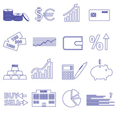 financial and money blue outline icons set eps10