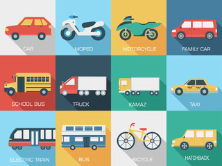 Flat cars concept set icon backgrounds illustration