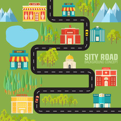 road to the city on flat style background concept