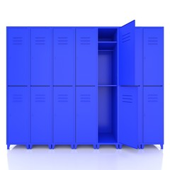 blue empty lockers isolate on white background