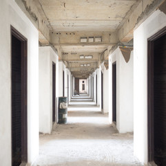 interior of an old abandoned building in Bangkok,Thailand