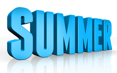 3D summer text on white background