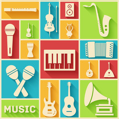 Retro flat music instruments icons pictograms