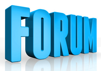 3D forum text on white background