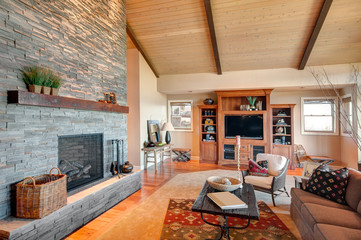 Beautiful living room in luxury home with fireplace