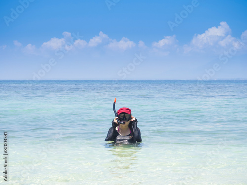poster of Woman wearing snorkel on summer vacation in tropical sea shore