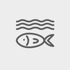 Fish under water thin line icon
