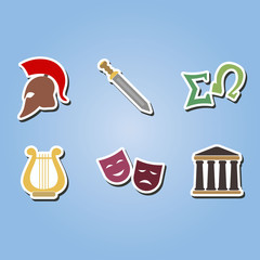 set of color icons with  greece symbols for your design