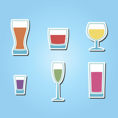 set of color icons with different containers for drinks