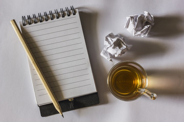 note paper with tea cup