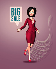 Enthusiastic 3D Businesswoman Announces Big Sale