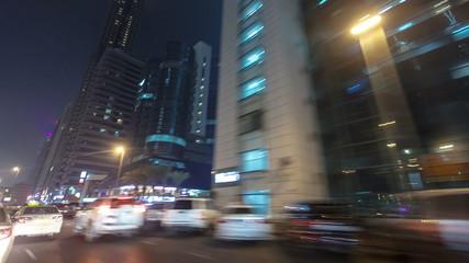 Drive on Sheikh Zayed Road in Dubai at night, United Arab
