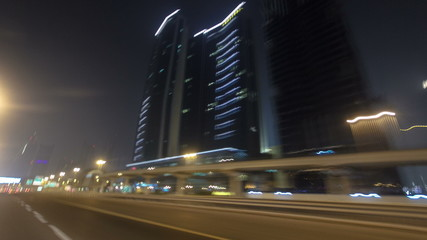 Drive on Sheikh Zayed Road in Dubai at night, United Arab