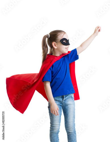 Poster little power super hero child in red raincoat