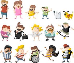 Colorful cute happy cartoon people