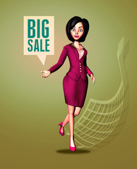 Dynamic 3D Businesswoman Announces Big Sale