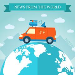 flat news car icon travels around the world. Vector illustration