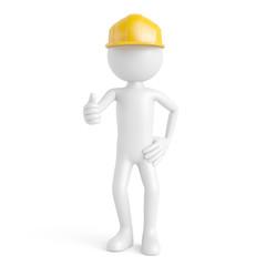 Bauarbeiter als 3D Mensch hält Daumen hoch