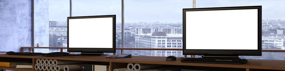 Panorama von Büro mit zwei Monitoren