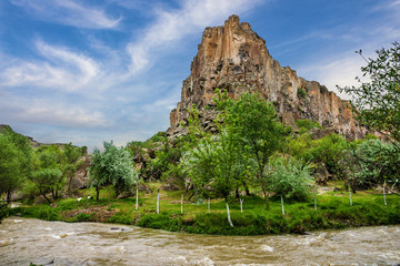Mountain landscape. Canyon Ihlara, Cappadocia, Turkey. Green tou
