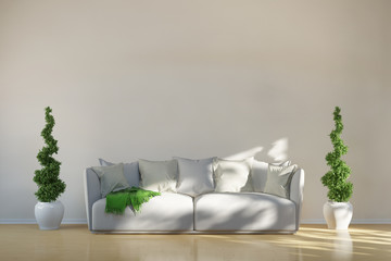 Sofa in Wohnzimmer mit grünen Akzenten