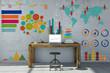 Leinwanddruck Bild - Infografik und Diagramm am Arbeitsplatz
