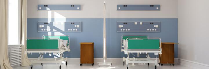 Leeres Doppelzimmer im Krankenhaus