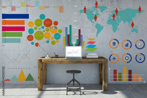 Leinwanddruck Bild Infografik und Diagramm am Arbeitsplatz