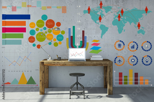 Leinwandbild Motiv Infografik und Diagramm am Arbeitsplatz